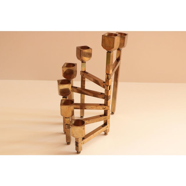 Articulated Brass Candleholder For Sale - Image 4 of 9