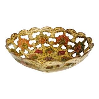 Vintage Indian Cloisonne Decorative Bowl Brass