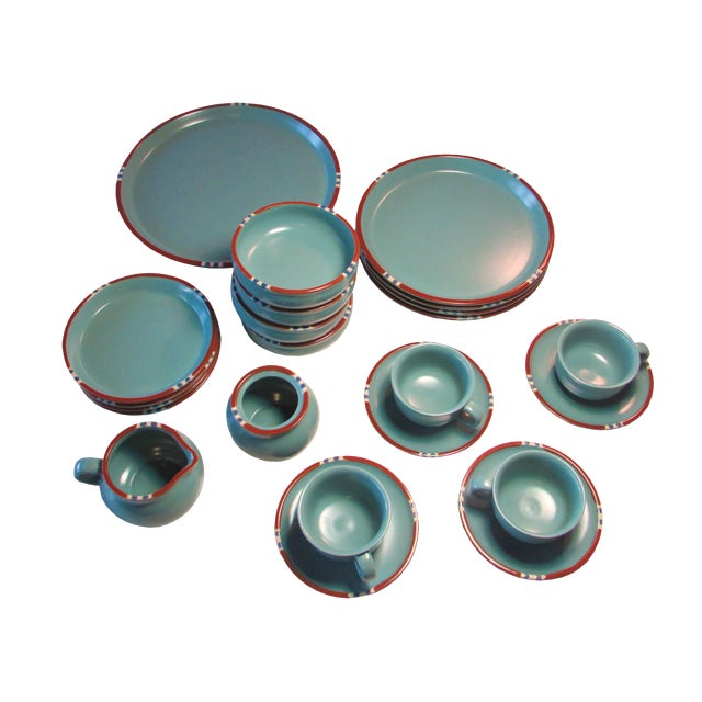 Turquoise Dansk Mesa Dishes, Cream & Sugar, and Platter - Set of 4 - Image 1 of 6