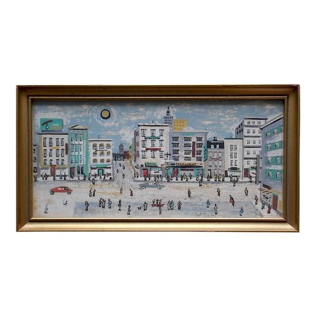 Mid-Century Silkscreen Cityscape Print For Sale