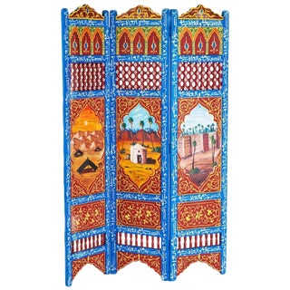 Moorish Hand-Painted Oasis Blue and Orange Room Divider For Sale