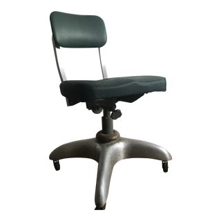 Vintage Mid Century Classice Good Form Green Swivel Desk Chair For Sale