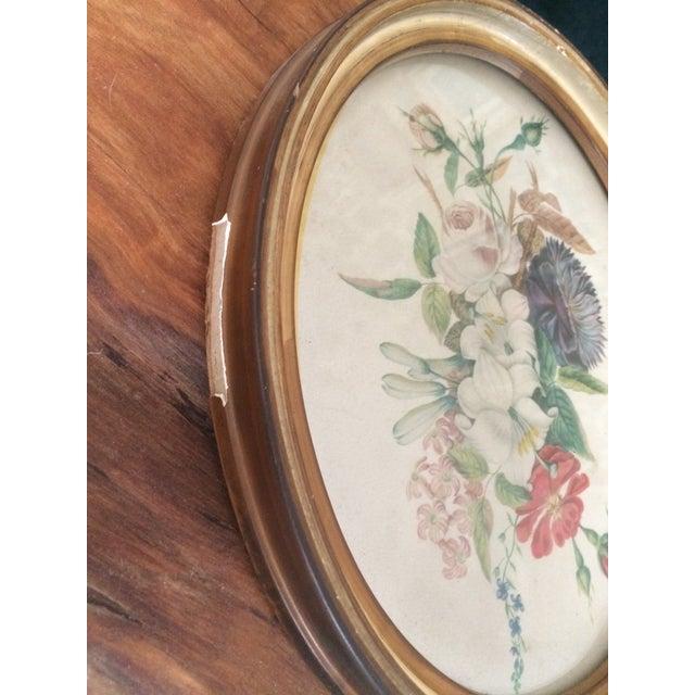Vintage Oval Framed Floral Art For Sale - Image 4 of 8