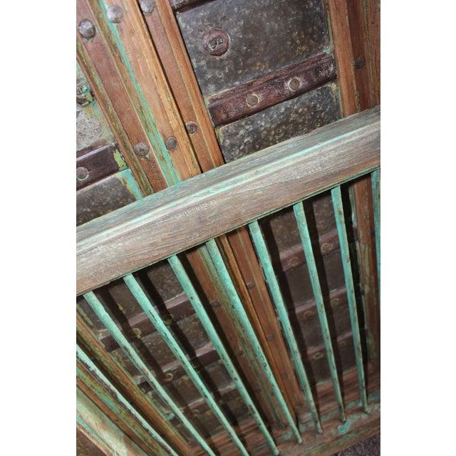 1900 - 1909 Vintage Indian Carved Teak Wood Green Solid Wooden Jharokha Window Door For Sale - Image 5 of 6