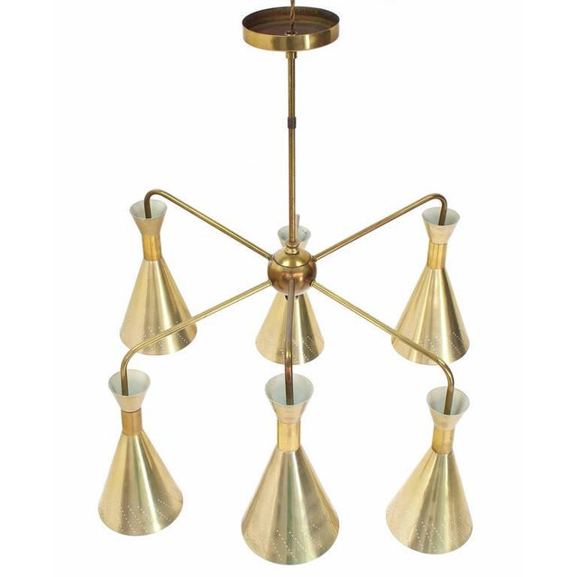 Cone Shades Sputnik Style Chandelier For Sale In New York - Image 6 of 9