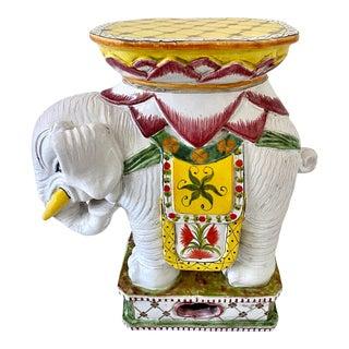 Mid Century Italian Elephant Garden Stool Glazed Terra Cotta Signed For Sale