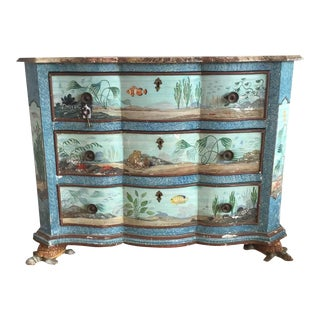 Hand-Painted Aquatic Turtle-Footed Chest Dresser