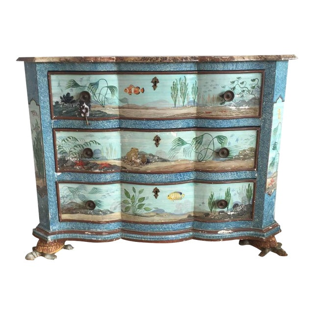 Hand-Painted Aquatic Turtle-Footed Chest Dresser For Sale