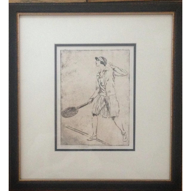 1930's Tennis Etchings Helen Moody Wills - A Pair - Image 1 of 6