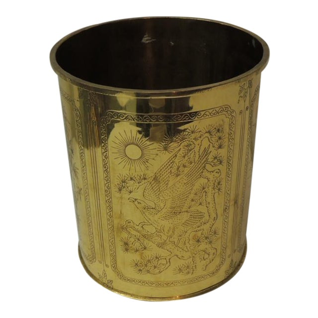 Vintage Polished Brass Asian Wastebasket Depicting Birds Flowers and Bamboo For Sale