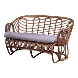 Kindt-Larsen Bamboo and Cane Sofa, Denmark For Sale