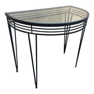 Vintage Mid-Century Iron Demi-Lune Table