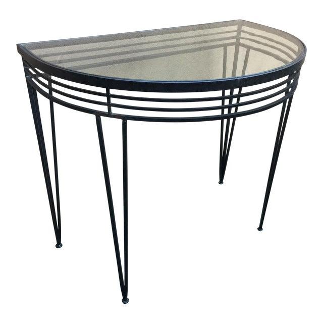Vintage Mid-Century Iron Demi-Lune Table - Image 1 of 5