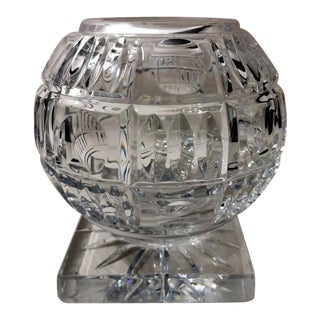 Sphere Cut Crystal Vase For Sale