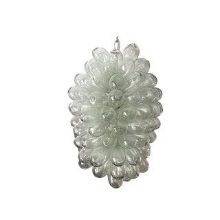 Clear Handblown Glass Light Fixture For Sale
