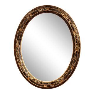"""Mid-20th Century Spanish Black and Gilt Oval Mirror With """"Églomisé"""" Glass For Sale"""