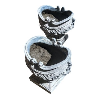 Handcrafted Cement Jardinière Overlaid W/ Scrolling Plaster Sculpted Floral Embellishments For Sale