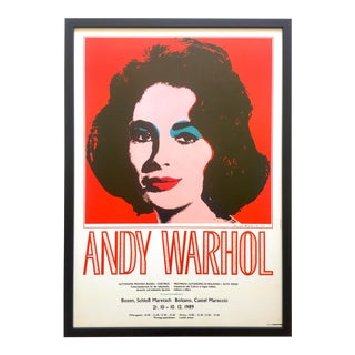 "Andy Warhol Rare Vintage 1989 Iconic Lithograph Print Framed Italian Exhibition Large Pop Art Poster "" Liz "" 1964 For Sale"