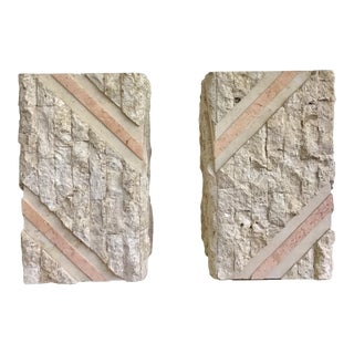 Maitland Smith Tessellated Pink Marble Chiseled Travertine Pedestals-a Pair For Sale