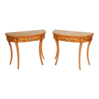 English Edwardian Style Painted Console Game Tables - a Pair For Sale