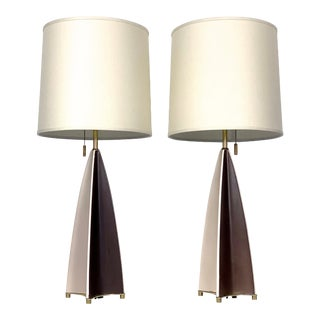 Ceramic Parabolid Fin Table Lamps by Gerald Thurston 1950's For Sale