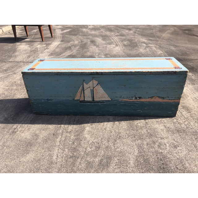 Folk Art 19th Century Painted Trunk From Maine For Sale - Image 12 of 12