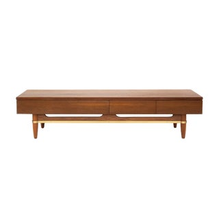 Low Walnut and Brass Platform Console Table by American of Martinsville For Sale