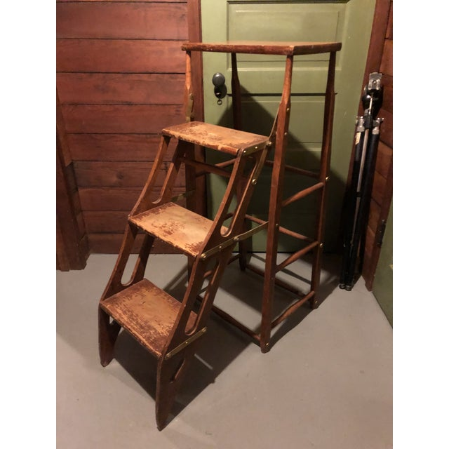 Early 20th Century American Metamorphic Library Ladder Steps For Sale In Minneapolis - Image 6 of 13