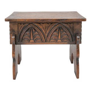 C. 1930 English Oak Carved Storage Stool For Sale