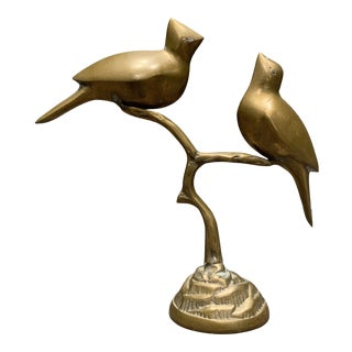 Vintage Mid-Century Brass Bird Figurine For Sale