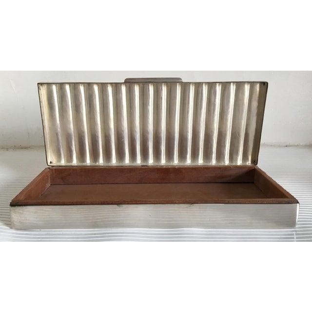 Brass Ralph Lauren Silver Ridged Humidor Box For Sale - Image 7 of 10