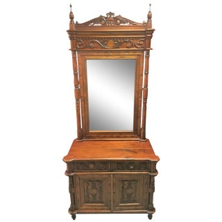 Indonesian Carved Teak Hall Vanity For Sale
