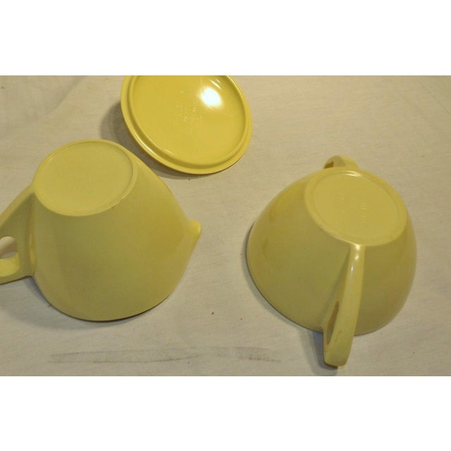 Retro Pale Yellow Melmac Prolon Ware Creamer and Sugar With Lid For Sale - Image 5 of 5