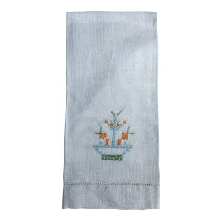 1920s Embroidered Guest Towel For Sale
