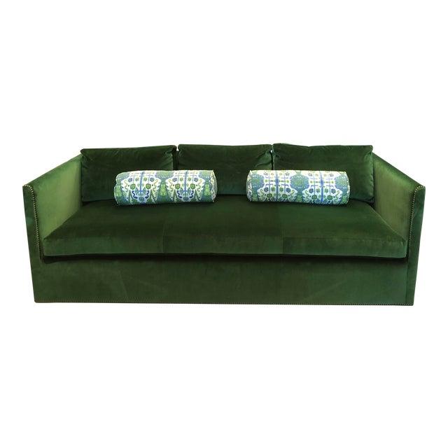 Highland House Emerald Green Velvet Sofa For Sale