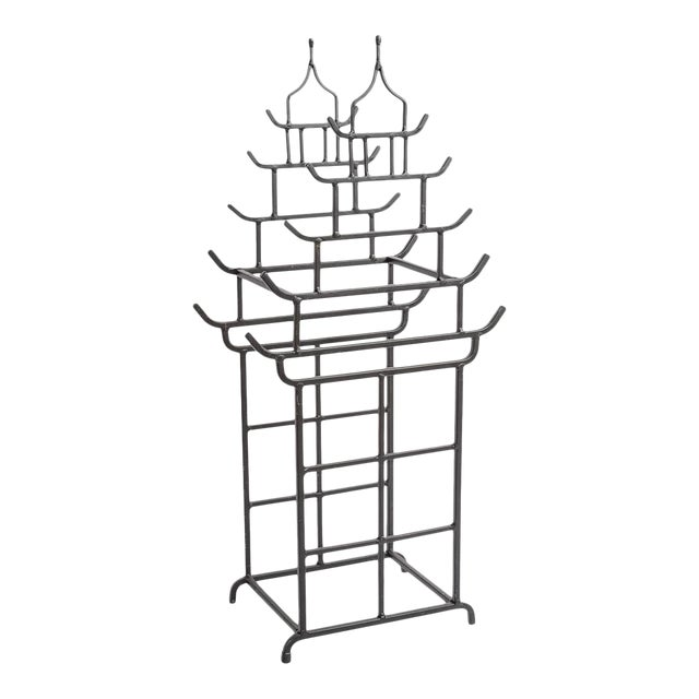Chinoiserie Steel Pagoda Shape Umbrella Stand For Sale
