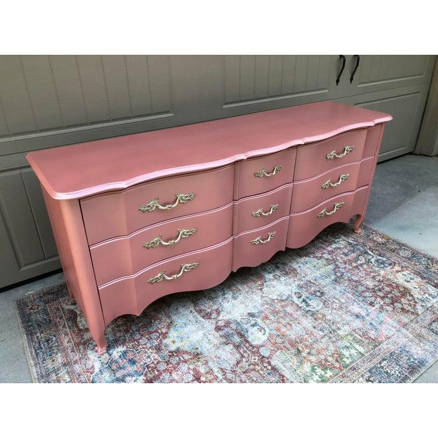 Vintage Drexel French Provincia Pink Triple Dresser For Sale - Image 9 of 13