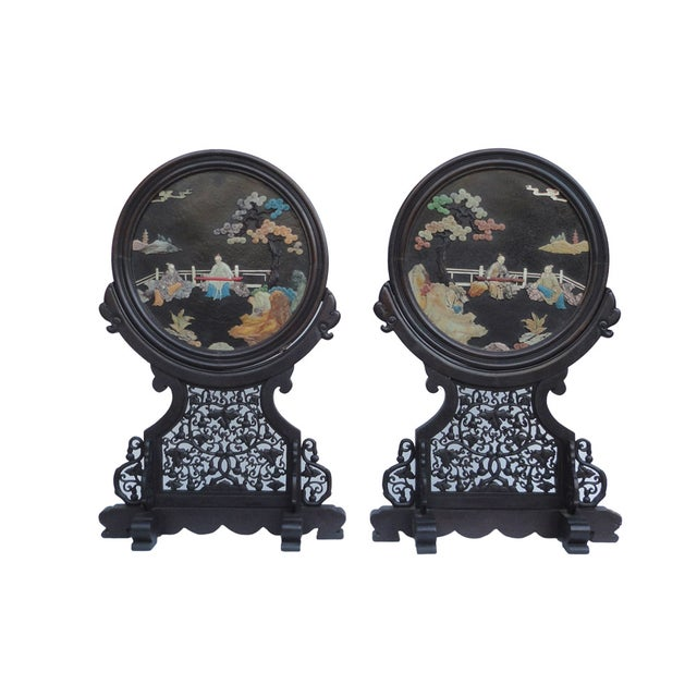 Oriental Tabletop Display Plaques- A Pair For Sale