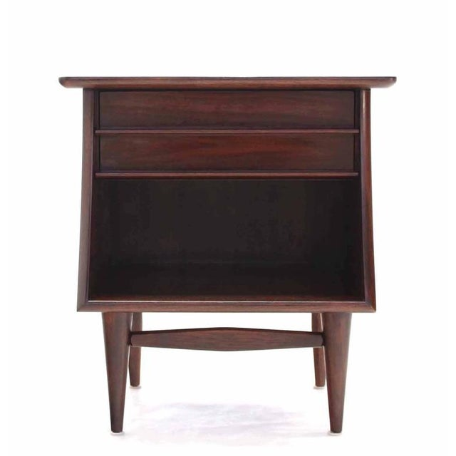 Pair of American Walnut One Drawer Nightstands For Sale - Image 4 of 8