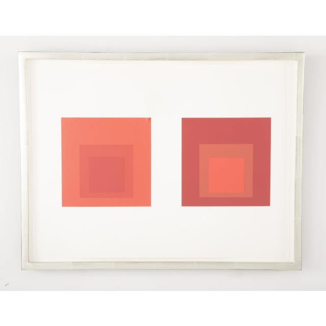 Mid-Century Modern Josef Albers Homage to the Square in Red Print For Sale - Image 3 of 5