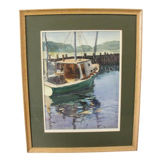 Mid-Century Fishing Boat in Rock Harbor Watercolor Painting
