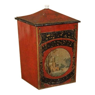 19th Century English Painted Tole Coal Hod For Sale
