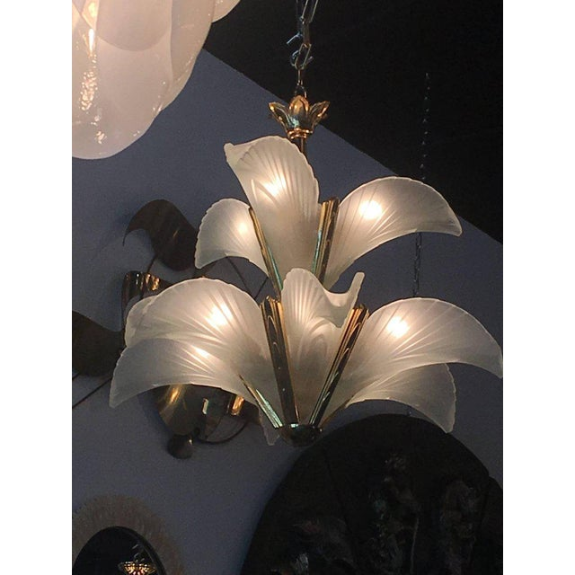 Italian Murano Glass & Brass Palm Tree Frond Leaf Chandelier - Image 9 of 12