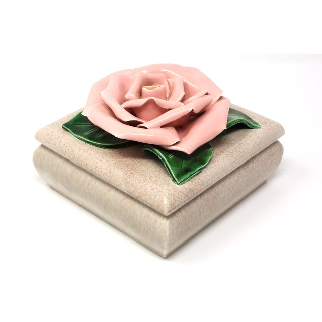 1970s Gorgeous 1971 Chanel Inspired Camellia Ceramic Square Lidded Dish For Sale - Image 5 of 11