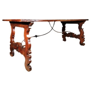 18th Century Italian Walnut and Iron Trestle Table For Sale