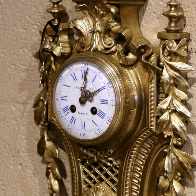 19th Century French Louis XVI Bronze Dore Cartel Wall Clock Signed Charpentier For Sale - Image 4 of 10