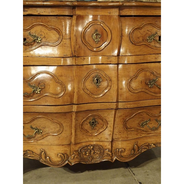"Rare Period Louis XV Pearwood Commode ""En Tombeau"" Circa 1750 For Sale - Image 9 of 11"