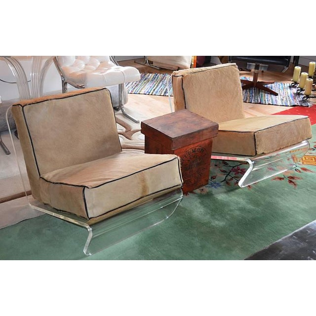 Tan 1970s Mid-Century Modern Tan Cushion Lucite Lounge Chairs - a Pair For Sale - Image 8 of 9