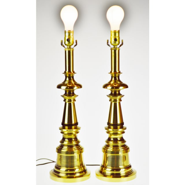 Vintage Brass Candlestick Table Lamps - a Pair For Sale - Image 4 of 13
