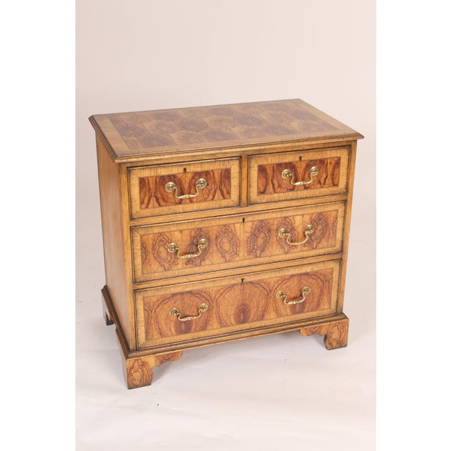 1950s Georgian Style Oyster Burl Chest of Drawers For Sale - Image 5 of 12